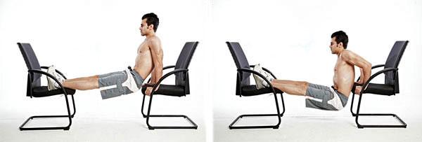 отжимания от стула узким хватом