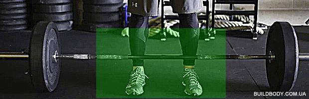становая тяга, положение ног у штанги