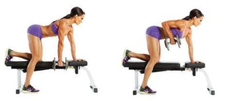 тренировка спины для женщин тяга гантели в наклоне