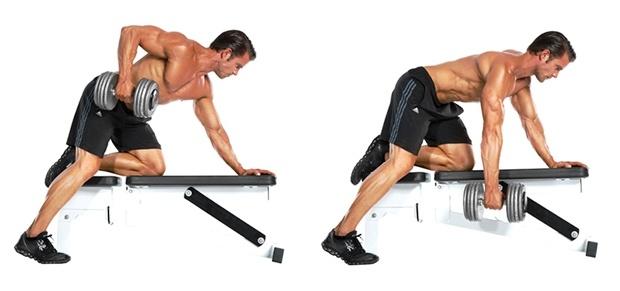 тренировка спины, тяга гантели одной рукой в наклоне